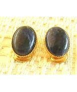 Vintage SIgned Swoboda Blue Stone Lapis Lazuli ?? Gold Tone Clip On Earr... - $55.00