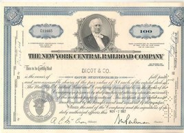 1963 The  New York Central Railroad Company Stock Certificate 100 Shares - $1.99