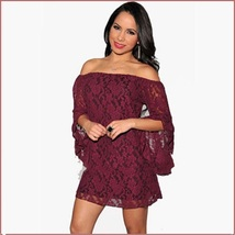 Casual Summer Long Flare Sleeve Off Shoulder Lace Mini Beach Dress in 4 Colors image 5
