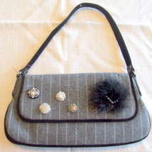 Small Gray Wool Blend Purse with Button, bead and Feather Embellishments - $7.99