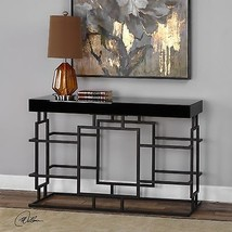MODERN BLACK METAL RUST DETAIL CONSOLE SOFA TABLE BEVELED BLACK GLASS TOP - $657.80