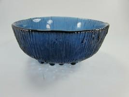 Vintage Smoky Blue Hobnail Footed Bowl Ridges 31016 Fenton ? - $29.69