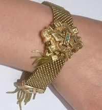 1873 Auth Victorian Mesh bracelet Gold fill with tassel turquoise and pe... - $401.85