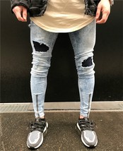 Cool Skinny Jeans for Big Guys 2018 New High Quality Men Skinny Jeans Big Hole I - $36.72