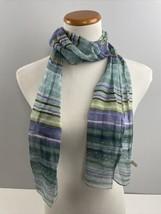 "Blue Striped Silk Scarf Made in Japan 100% Silk Semisheer Wrap 60x10"" - $19.80"