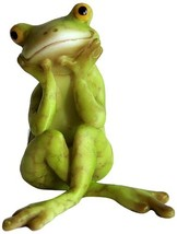 Top Collection Miniature Fairy Garden and Terrarium Frog in Thought Statue - $14.84