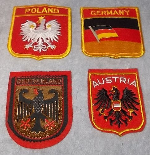 Primary image for Germany Austria Poland Souvenir Travel Patch Lot with Germany Lapel Hat Pin