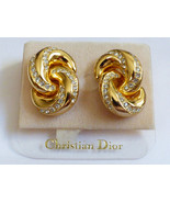 CHRISTIAN DIOR SIGNED GOLD TONE CRYSTAL RHINESTONES TWIST CLIPS EARRINGS... - $126.72