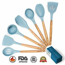IQUONA Kitchen Utensil Set - 7 Piece Natural Acacia Wood Silicone Spatul... - $31.05