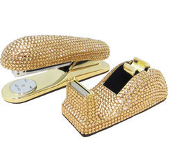 Gold Crystal Stapler & Tape Dispenser Office Desk Set with Swarovski Cry... - $3.011,85 MXN