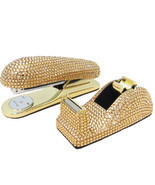 Gold Crystal Stapler & Tape Dispenser Office Desk Set with Swarovski Cry... - £118.59 GBP