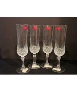 Set of 4 Cristal d' Arques Champagne Flutes Longchamps Pattern NEW - $19.99