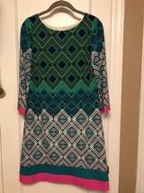 Eliza J Shift Dress Size 8 Spring Green Multi Color 3/4 Sleeve Euc - $39.59