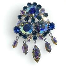 Blue Rhinestone Crystal Brooch Pin AB Aurora Borealis Austria 2 Inches Vintage - $33.66