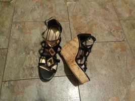 montego bay club black strappy cork wedge heels shoes size 6 - $19.79