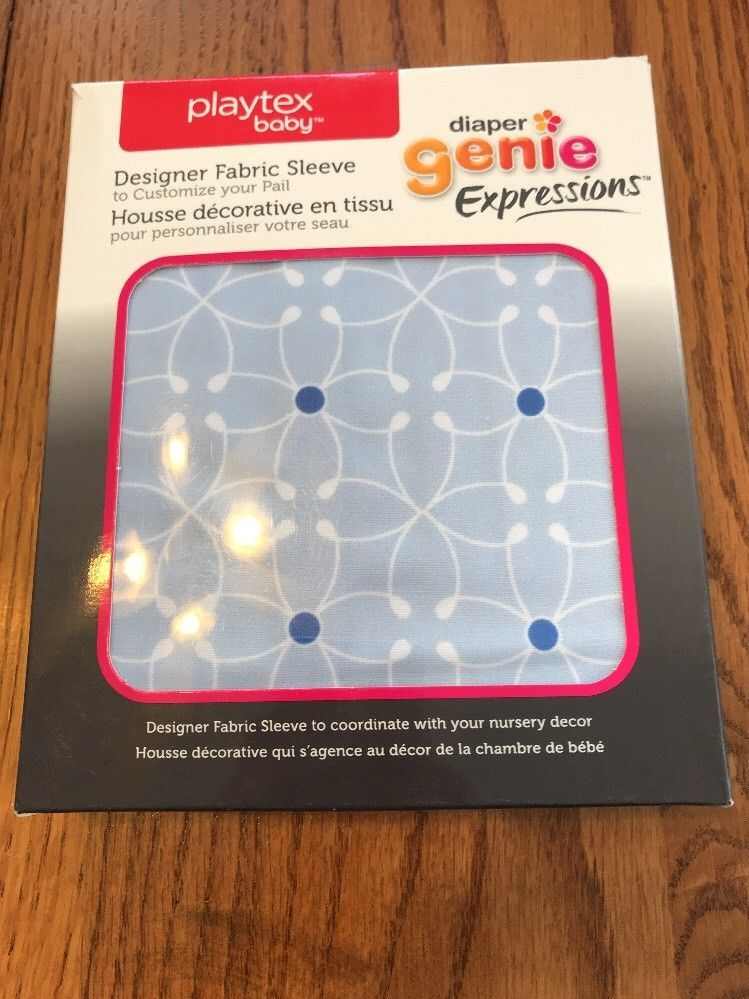 Playtex Baby DIAPER GENIE Expressions Designer Fabric Cover Sleeve Blue Tile - $14.88