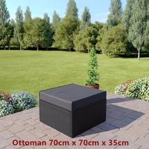 Black Rattan Sofa & Stool Set Modular Outdoor Garden Furniture Dark Cushions New image 2