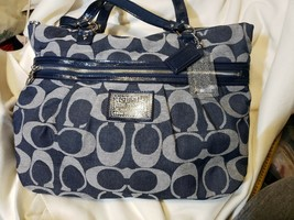 COACH POPPY DENIM SIGNATURE TOTE #F23003 PATENTED LEATHER TRIM - $89.10