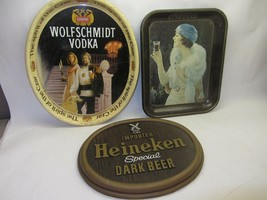 2 Vtg Metal Trays Coca Cola Flapper & Wolfschmidt Vodka & Heineken Beer ... - $44.54
