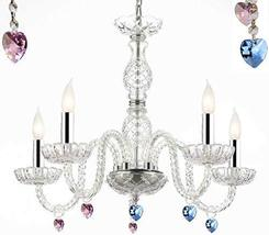 Murano Venetian Style Chandelier Lighting with Blue and Pink Crystal Hearts W/Ch - $130.96