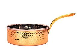 Indian Art Villa Steel Copper Sauce Pan with Brass Handle, Serveware & T... - $37.61