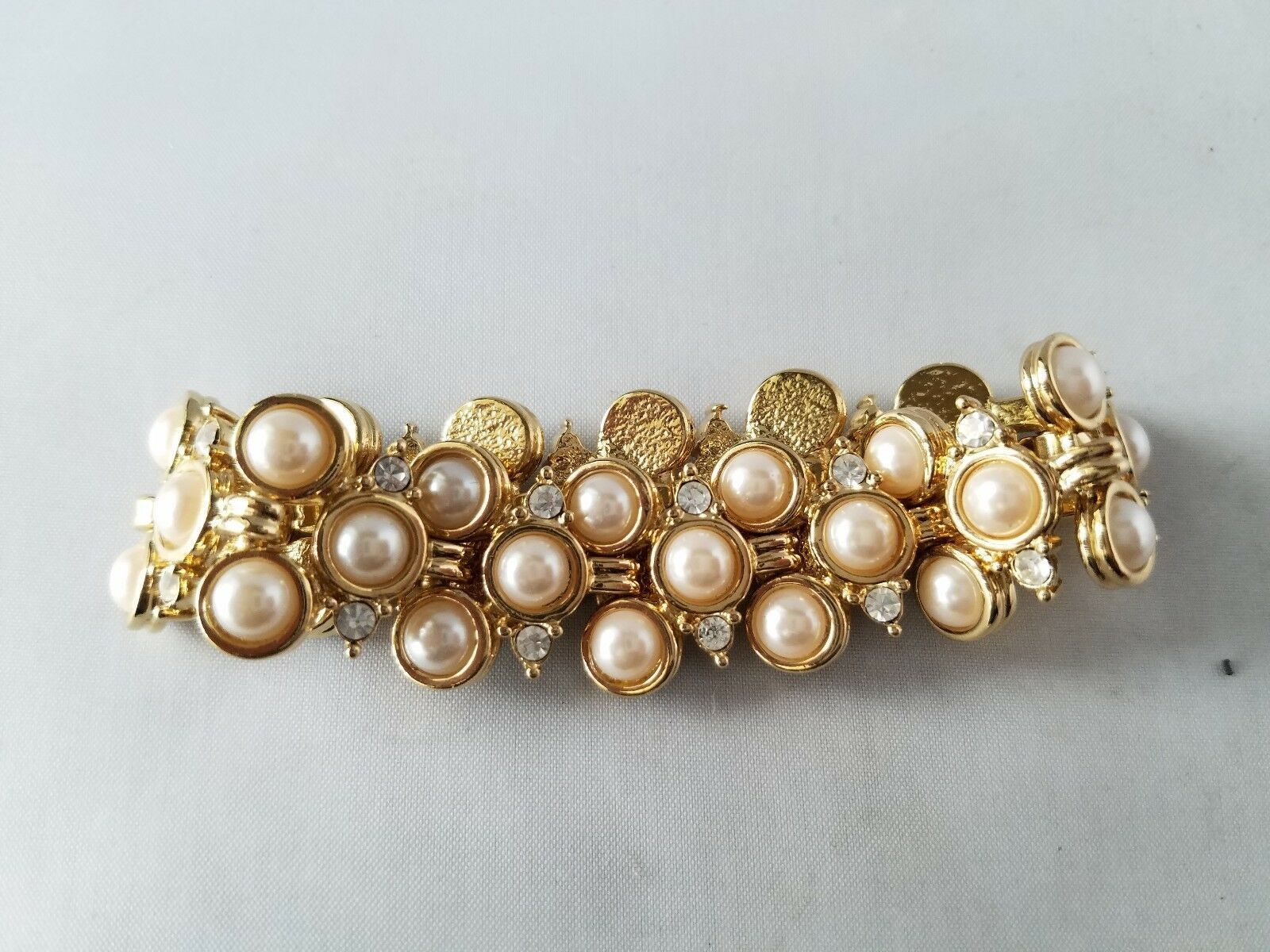 Vintage Fashion Jewelry Set Gold Tone Faux Pearl Bracelet & Earrings