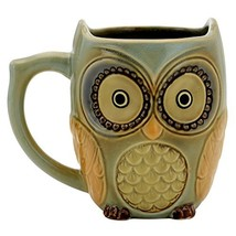 Teagas Cute Owl Mug Cup 12 oz - Cyan Cute Owl Morning Coffee Ceramic Mug - $13.81