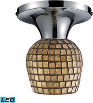 ELK Lighting Celina 1 Light LED Semi Flush In Polished Chrome Gold Leaf ... - $124.00