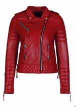 New Red Leather Jacket Women Quilted Biker Motorcycle Slim Fit All Size  - $169.99+