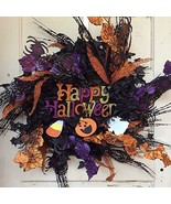 AGD Halloween Decor - Black Roses Happy Halloween Wreath - $59.35