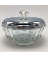 """4 1/2"""" Cut Glass Candy Dish with Stainless Lid -Unmarked - $29.95"""