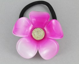 Pink flower ponytail holder plumeria floral stretch elastic pony tail cover - $4.18