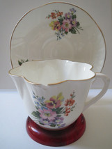 Crown Staffordshire - Teacup And Saucer - Gold Trim - $12.00
