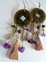 Mixed Media Oriental Themed Dangle Hook Earrings - $4.94