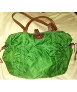 Strenesse Blue Bag Green Nylon Handbag Satchel Carry Bag Leather Straps - $15.00