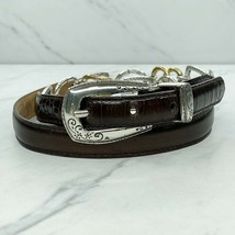 Brighton Brown Vintage Croc Embossed Leather Heart Chain Belt Size Large... - $35.79