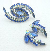 Blue Clear Rhinestone Aurora Borealis Swirl Silver Tone Brooch Earrings ... - $59.39