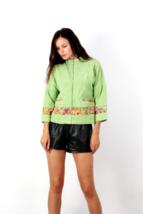 Vintage Corduroy Short Embellished WOMENS Jacket Zip Summer COTTON Jacke... - $24.31