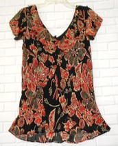 Lola P Black Red Floral Large Rayon Frilled V Neck Short Sleeve Lined Top - $9.47