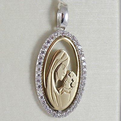 CIONDOLO MEDAGLIA OVALE ORO GIALLO BIANCO 750 18K Vergine Maria e Gesù ZIRCONIA