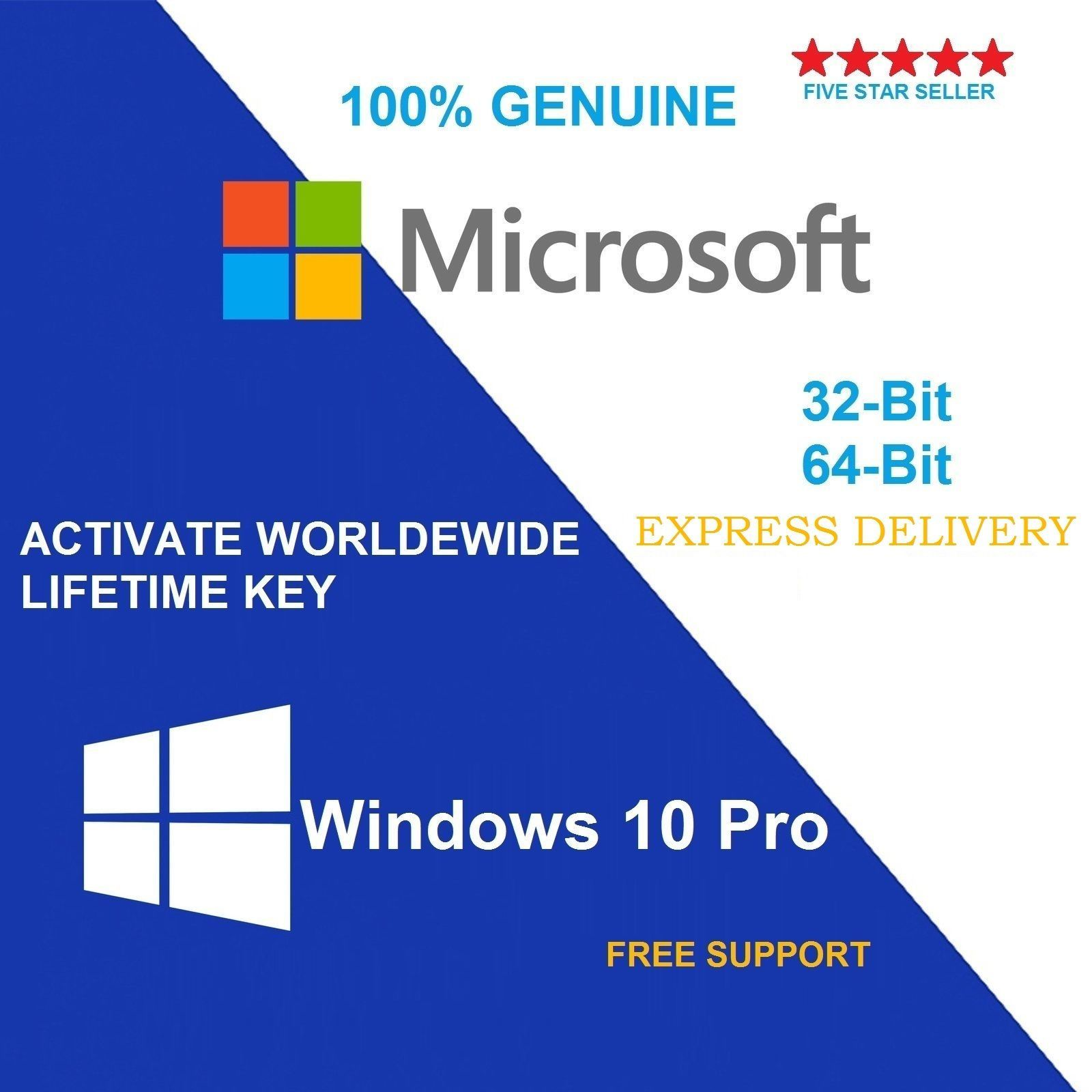 Windows 10 Pro Professional 32 and 64-bit Product ...