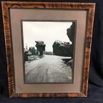 1950's Black White Amateur Framed Photo Balanced Steamboat Rock Garden O... - $37.57