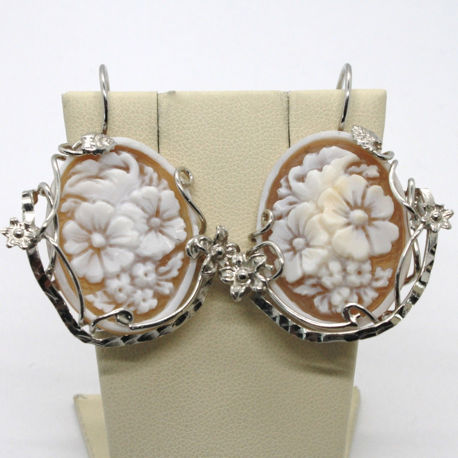 EARRINGS SILVER 925 WITH CAMEO CAMEO HANDMADE WITH FLOWERS MADE IN ITALY