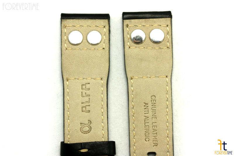 20mm Negro Liso Cuero Remache Correa para Reloj de Pulsera Luminox Anti-allergic