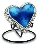 Grecian Blue 3 Cubic Inches Heart Keepsake Funeral Cremation Urn For Ashes - $74.99