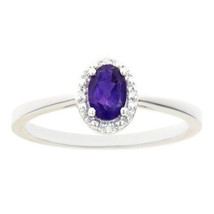 AMETHYST DIAMOND HALO ENGAGEMENT RING OVAL SHAPE 925 STERLING SILVER .46... - £76.05 GBP
