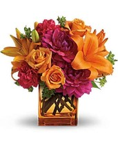 Teleflora's Summer Chic Orange Glass Cube Vase - 05N410 - $14.84
