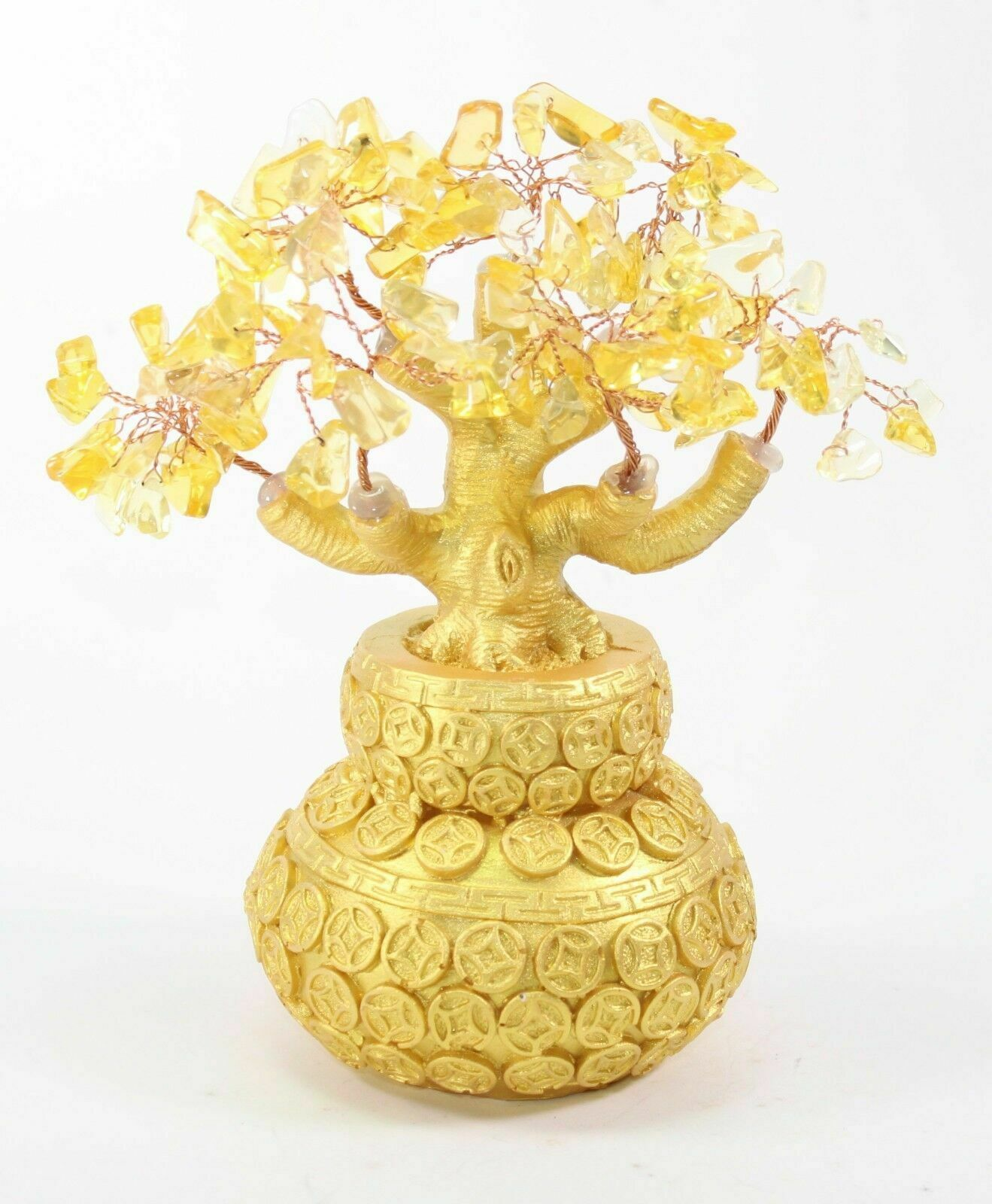 """7"""" Feng Shui Yellow Crystal Money Tree Gold Coins Pot Lucky For Wealth Blessing"""
