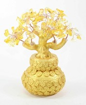"""7"""" Feng Shui Yellow Crystal Money Tree Gold Coins Pot Lucky For Wealth Blessing image 1"""