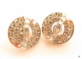 Art Deco Signed Trifari Vintage Round Rhodium F Rhinestone Clip-On Earri... - $39.59